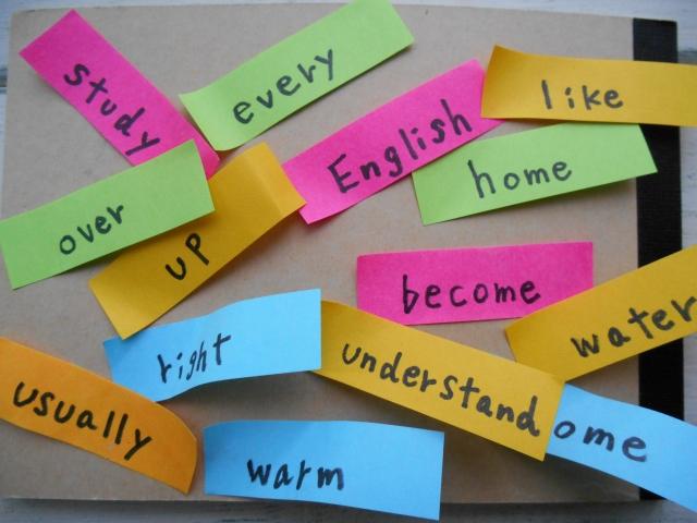 スペイン語の単語を書いたメモ