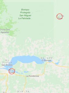ティカル遺跡への行き方を示す地図2
