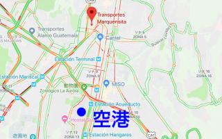 グアテマラの長距離バス会社マルケンシータの地図