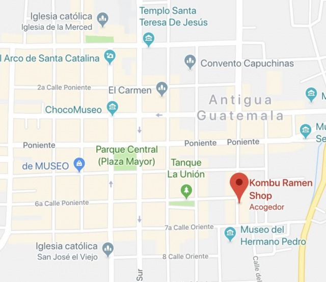 アンティグアにあるラーメン屋の地図